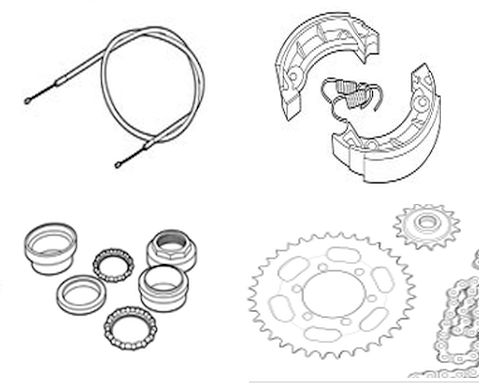 Zündapp wielen, kabels, remdelen, vorkdelen, grepen, kettingen, tandwielen