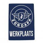 Sticker Zundapp Werkplaats Blauw A4