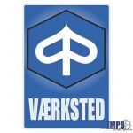 Vaerksted Sticker Piaggio Deens
