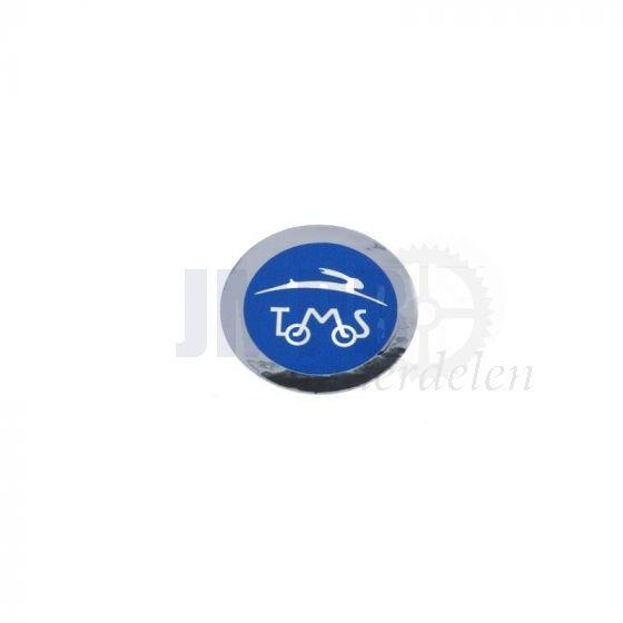 Sticker Tomos Logo Blauw/Chroom 40MM