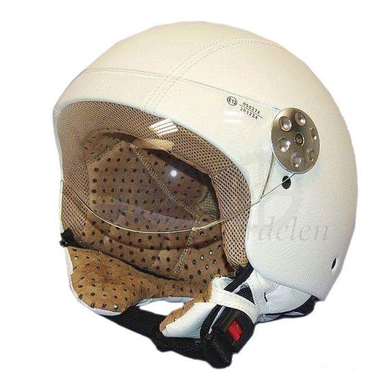 Helm Jet Retro Leer MT Wit