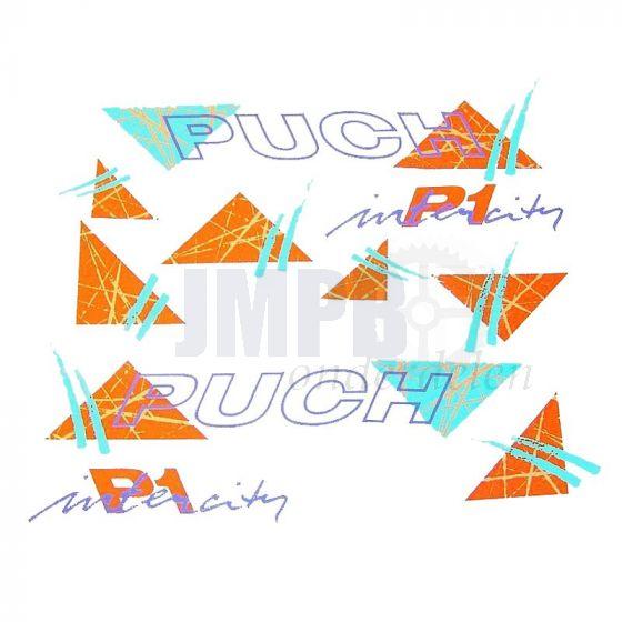 Stickerset Puch P1 Intercity Groen/Oranje