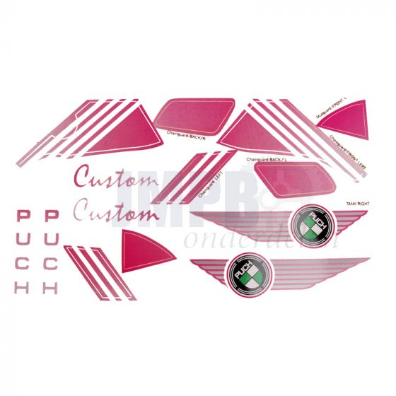 Stickerset Puch Custom Roze