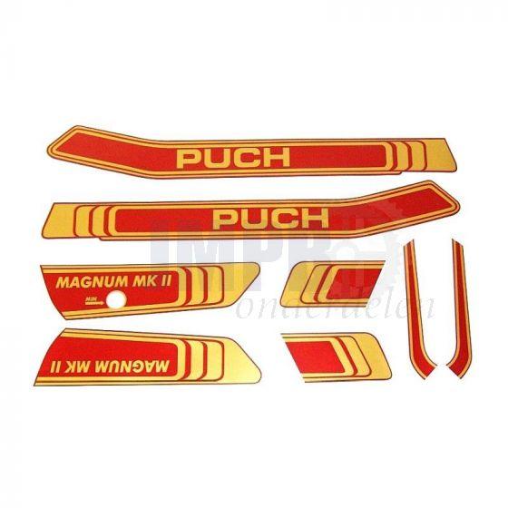 Stickerset Puch Magnum MKII Goud/Rood