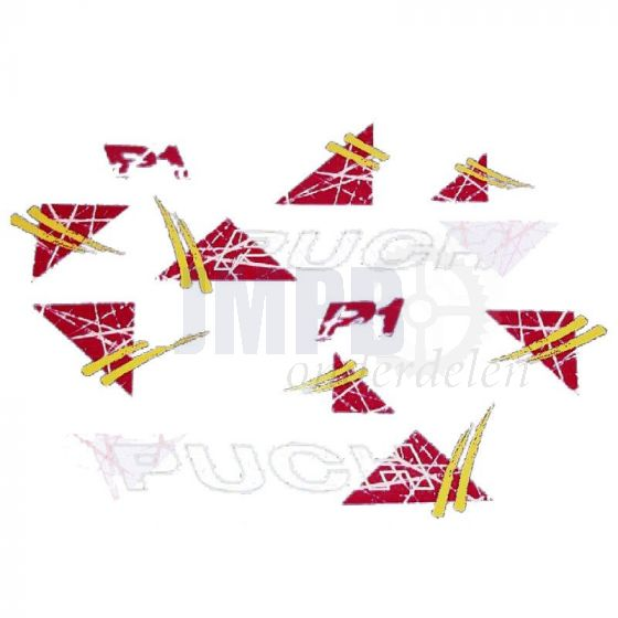 Stickerset Puch P1 Intercity Rood/Geel